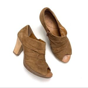 Naya Ana Peep Toe Wooden Heels Booties